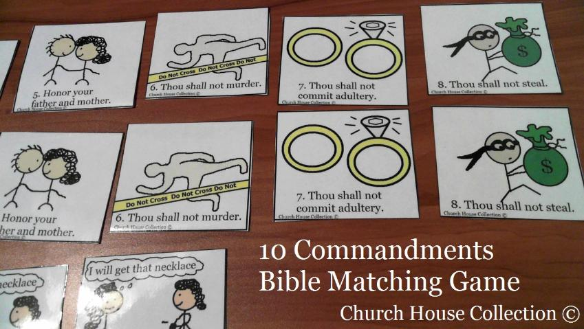 10 Commandments Bible Matching Game