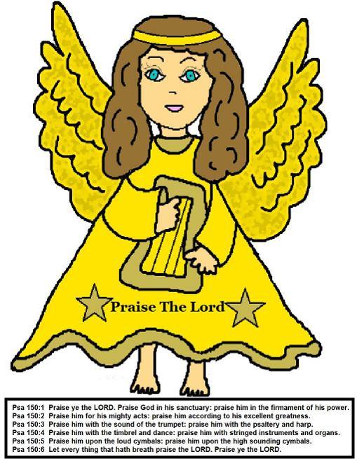 Angel Praise the Lord Cake Template for Christmas Angel Sunday School Lessons for preschool kids by Church House Collection. Angel Holding A Harp Clipart cartoon images