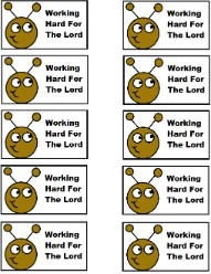 Ant Working Hard For The Lord Labor Day Printable Template Cupcake Toppers Stickers magnets Popsicle Stick Puppets