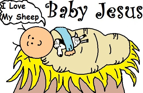 Baby Jesus And His Sheep Clipart