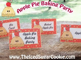 Apple Pie Baking Party Food Label Tent Cards-Printable Digital Download by The Iced Sugar Cookie. Great for Fall Or Thanksgiving Party!