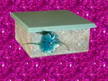 Blue Glitter With Bling Rhinestone Cake Stand