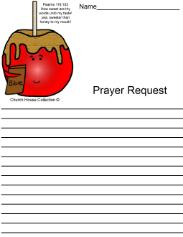 Candy apple prayer request printable sheet