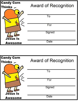 Candy Corn Award Printable Certificate