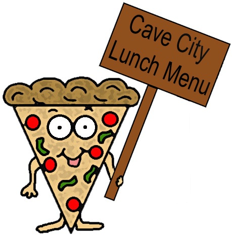 Cave City Lunch Menu Pizza Clipart Holding Sign