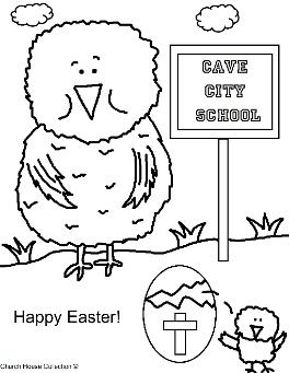 Cave City School Easter Chick Coloring Page
