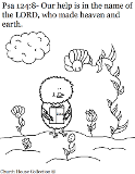 Psalms Coloring Pages. Psalms 124:8 Our Help Is In The Name Of The Lord who made heaven and earth. Chick with bible coloring page.