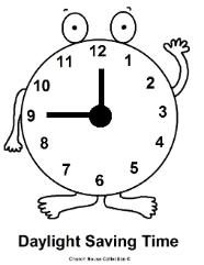 Daylight savings time coloring pages