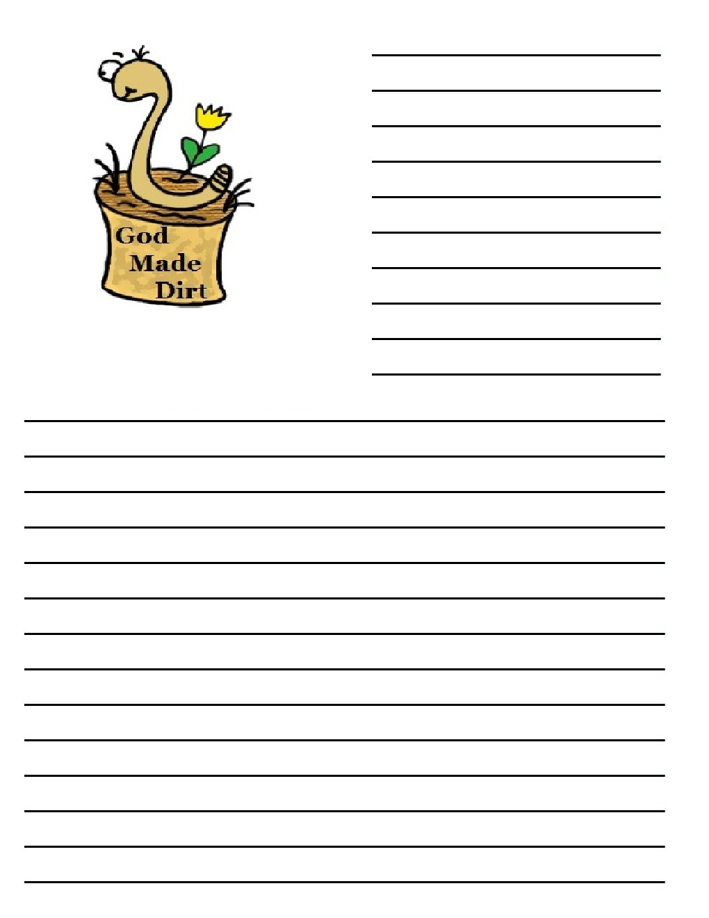 Dirt Worm printable writing paper 2jpg – Colored Writing Paper