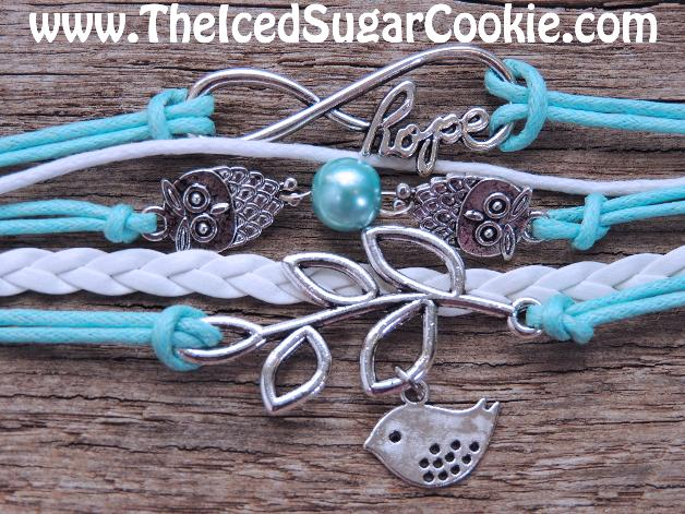 Blue and White Leather Bracelet With Owls, Hope Infinity Sign and Dove by The Iced Sugar Cookie. Jewelry For Girls and Women