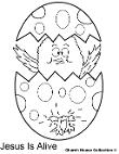 Easter Chick Popping out of Egg coloring pages- Easter Coloring Pages- Jesus is Alive