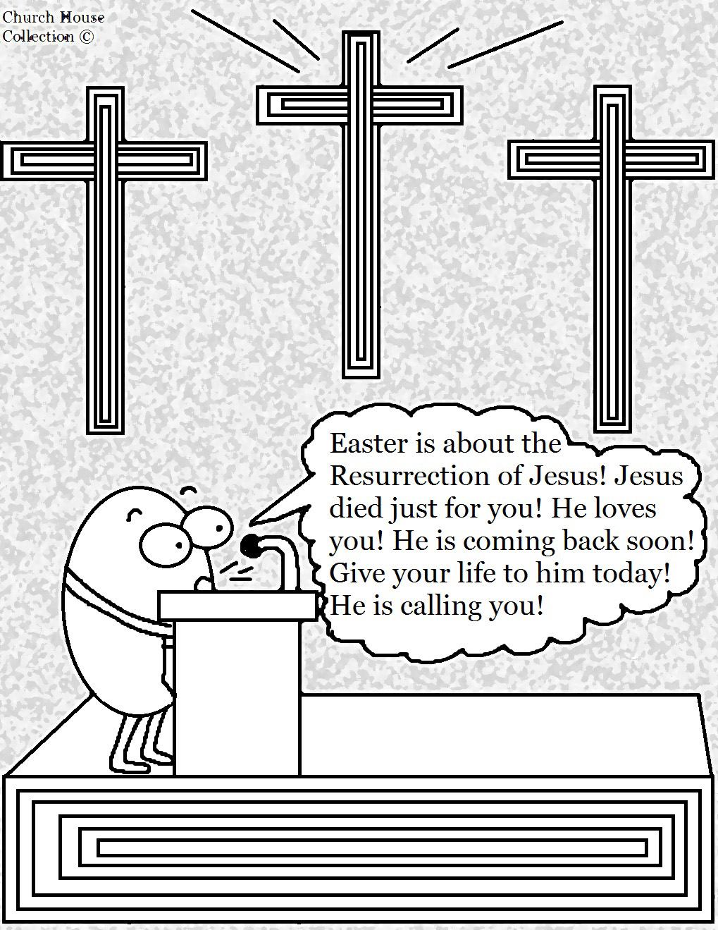 Church House Collection Easter Coloring Page Egg Preacher