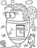 Easter Egg Holding BIble Coloring Page for Sunday school