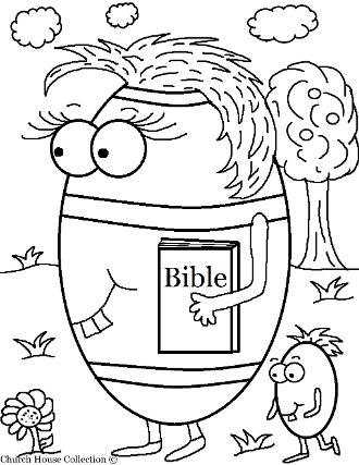 Easter Egg Carrying Bible Coloring Page For Sunday school