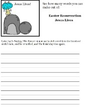 Easter Resurrection Word in a word Activity Sheet