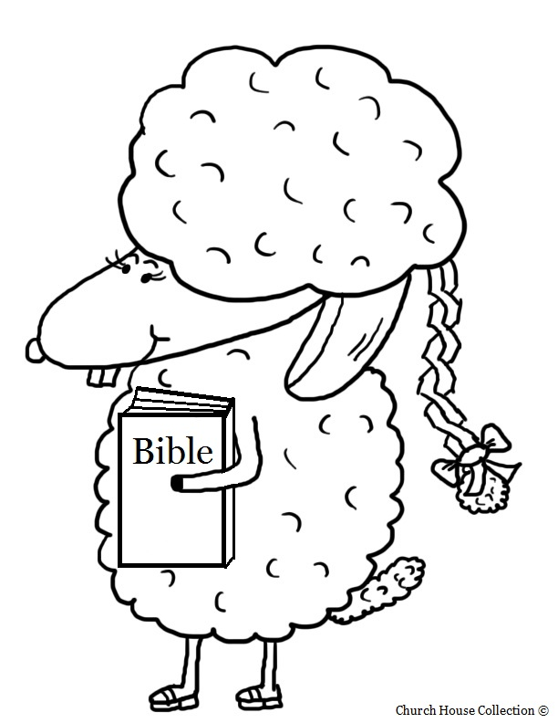 easter sheep with braid and bible coloring page