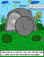 Happy Easter Tomb Jesus Resurrection Picture Cartoon Clipart Image by Church House Collection©