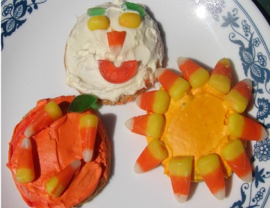 Fall Festival Cookies With Pumpkin, Sun and Faces
