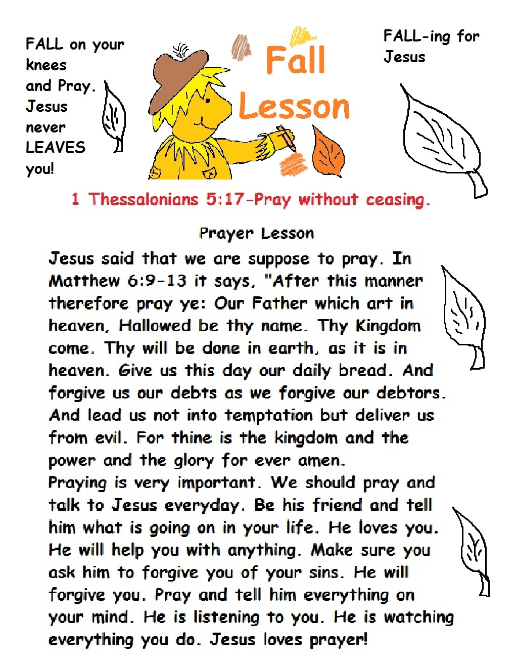 Fall Prayer Sunday School Lesson
