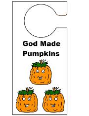 Pumpkin Doorknob Hangers For Sunday School Kids. Free Printable Doorknob Hanger Template Cutout Activity By Church House Collection- 3 Orange Pumpkins Cutouts