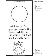 Flower Sunday school lesson- Flower Doorknob hanger- Isaiah 40:8 the word of our God shall stand forever
