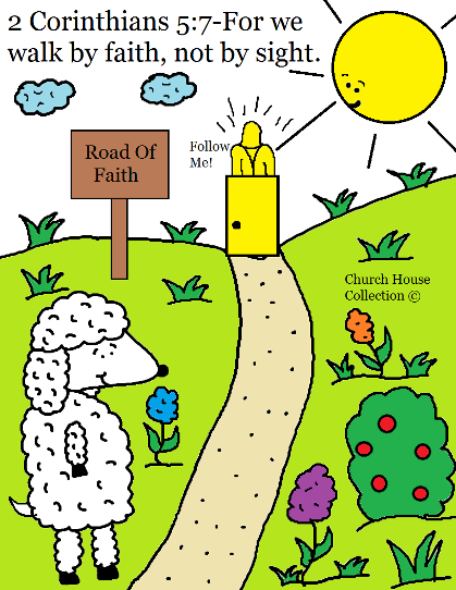 2 Corinthians 5:7 For We walk by faith not by sight coloring page. Sheep On The Road To Jesus.