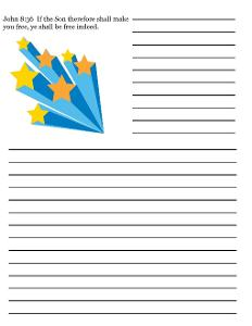 Fourth of July Sunday School Lesson For Kids- Printable Writing Paper For Sunday school