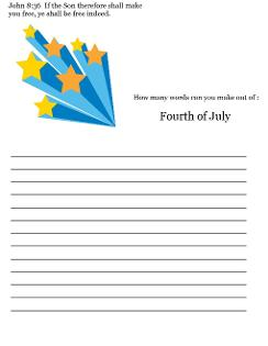 Fourth of July Sunday School Lesson For Kids- Word In a Word Printable Sheet for Sunday school