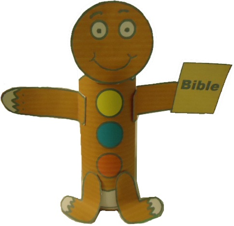Free Gingerbread Holding A Bible Toilet Paper Roll Craft For Sunday School or Children's Church for Christmas by Church House Collection