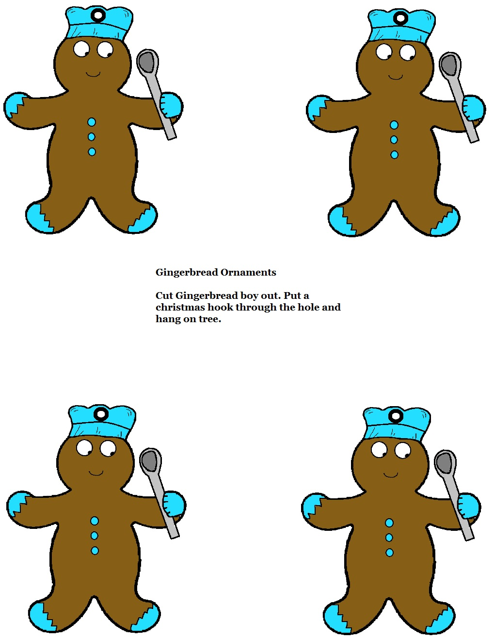 Free Printable Cutout Template Gingerbread Christmas Ornaments For Kids To Do in Sunday School or Children's Church Class by Church House Collection