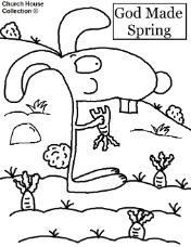 Spring Coloring Pages- Rabbit eating a carrot coloring page- God made Spring coloring page