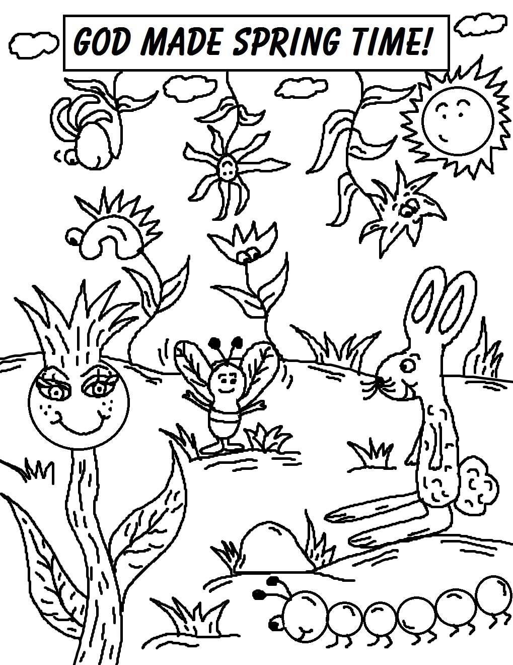 Spring time coloring pages for Free spring time coloring pages