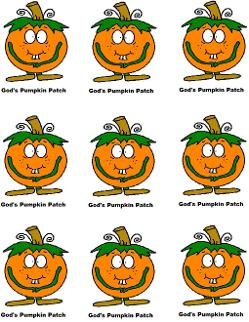 Pumpkin Sunday school lesson printable stickers cupcake topper tempate