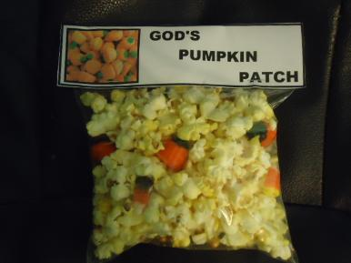 God's Pumpkin Patch Snack For Kids Pumpkin Sunday school lesson- Candy Corn And Candy Corn Pumpkins in a Ziplock Bag- Free printable pumpkin template to cutout for Sunday school kids by Church House Collection