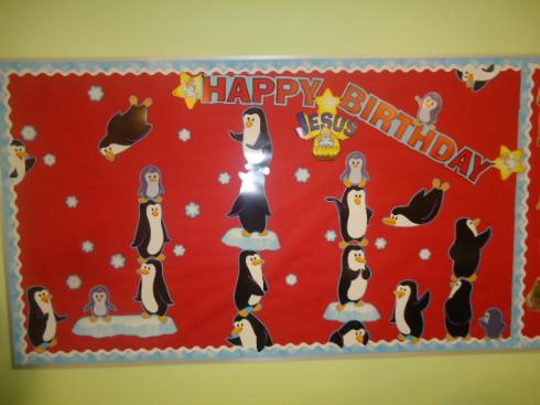 Happy Birthday Jesus Penguin Bulletin Board Idea for Christmas Children's CHurch
