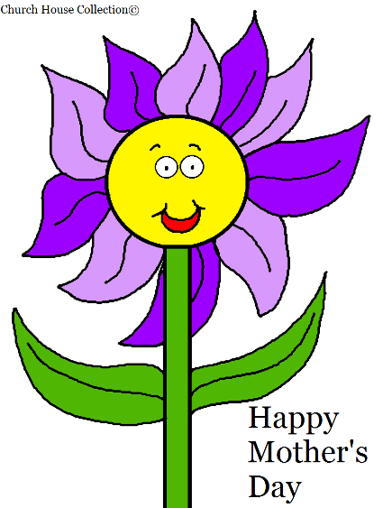 Happy Mother's Day Flower Coloring Page for Kids by Church House Collection©
