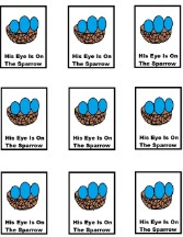 His Eye Is On The Sparrow Cupcake Template
