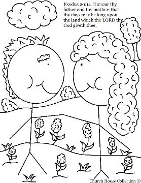 Honor Thy Father And Thy Mother Coloring Page Exodus For Ten Commandments