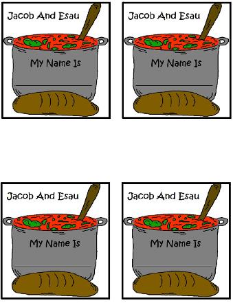 Jacob and Esau Name Tags Template for Sunday School Kids For Free By Church House Collection