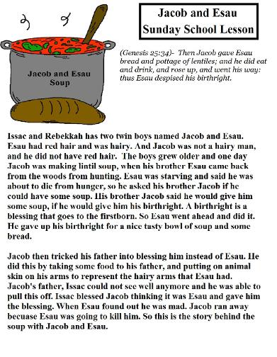 Jacob and Esau Sunday School Lesson For Free for Kids by Church House Collection