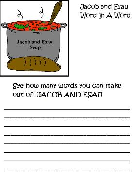 Jacob and Esau Word In Word Activity Page by Church House Collection