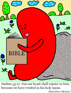 Jelly Bean Reading Bible Psalms 33:21 Coloring Page by Church House Collection©