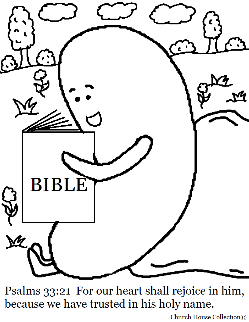 jelly bean reading the bible coloring page