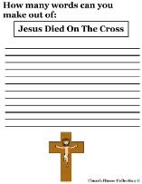 Jesus died on a cross word in a word Sunday school lesson