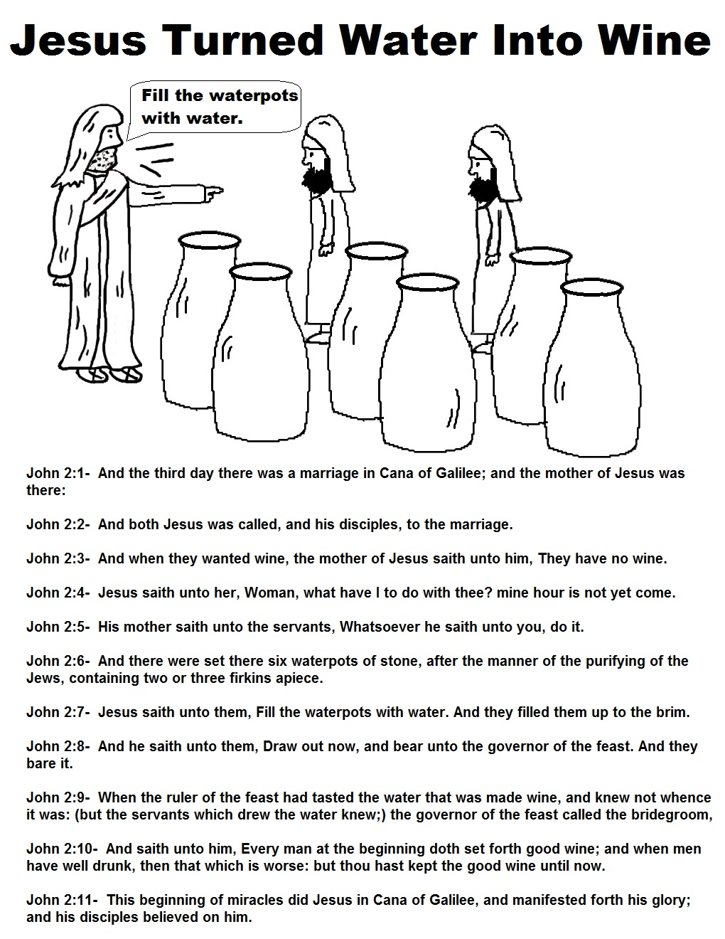Coloring Pages For Jesus Turning Water Into Wine : Free coloring pages of the first miracle jesus