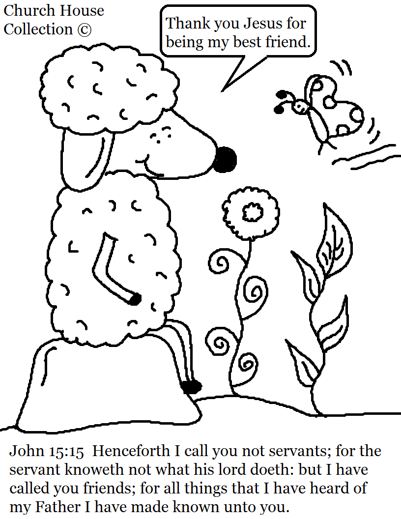 John 15 15 sheep coloring page for Coloring pages for kids sunday school