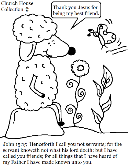John 15:15 Sheep Coloring Page for kids In Sunday school or Children's Church.
