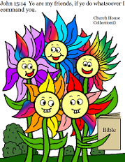 Flower Family Coloring Page for Kids in Sunday School by Church House Collection©
