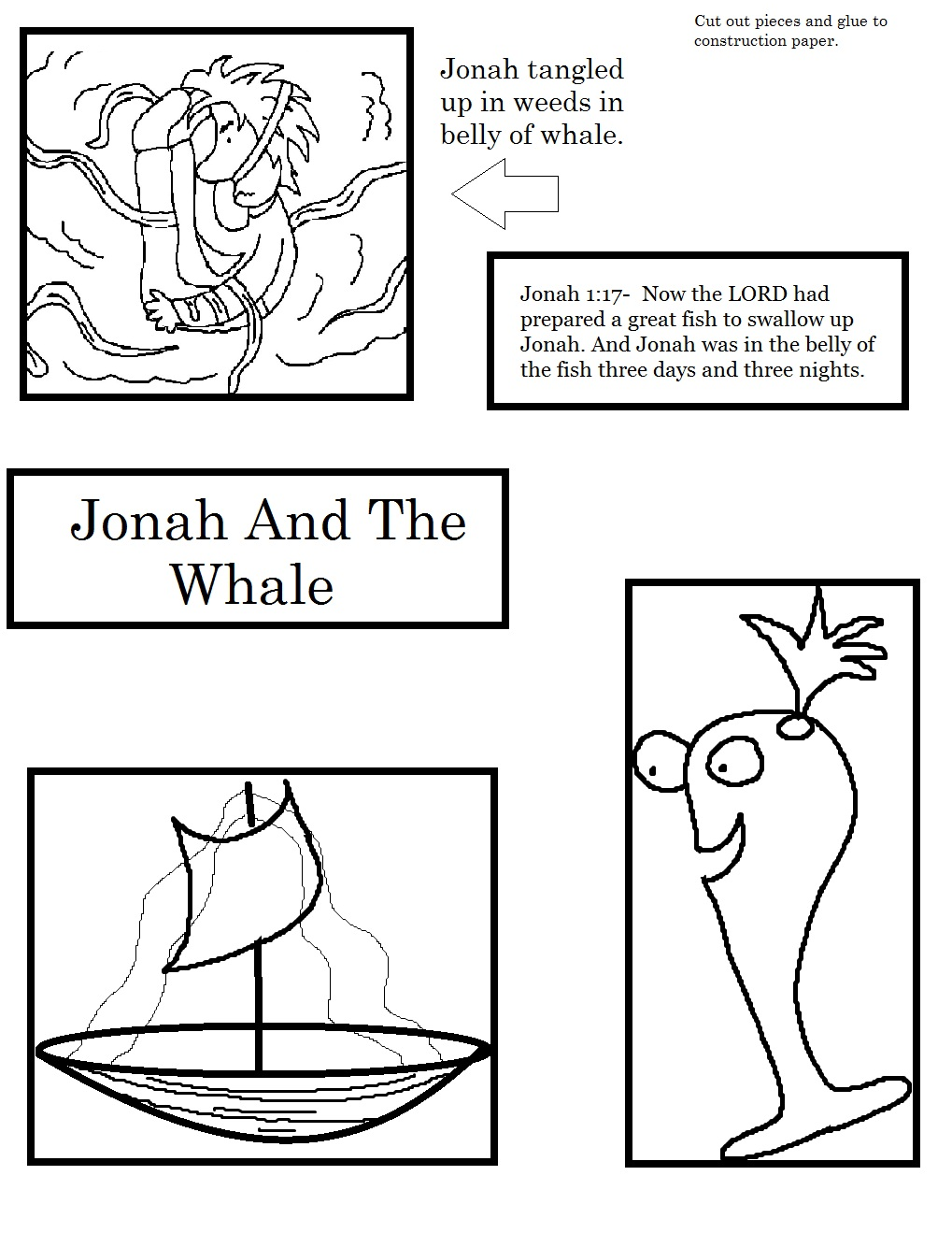 Jonah Praying In The Whale Coloring Pages Printable Jonah