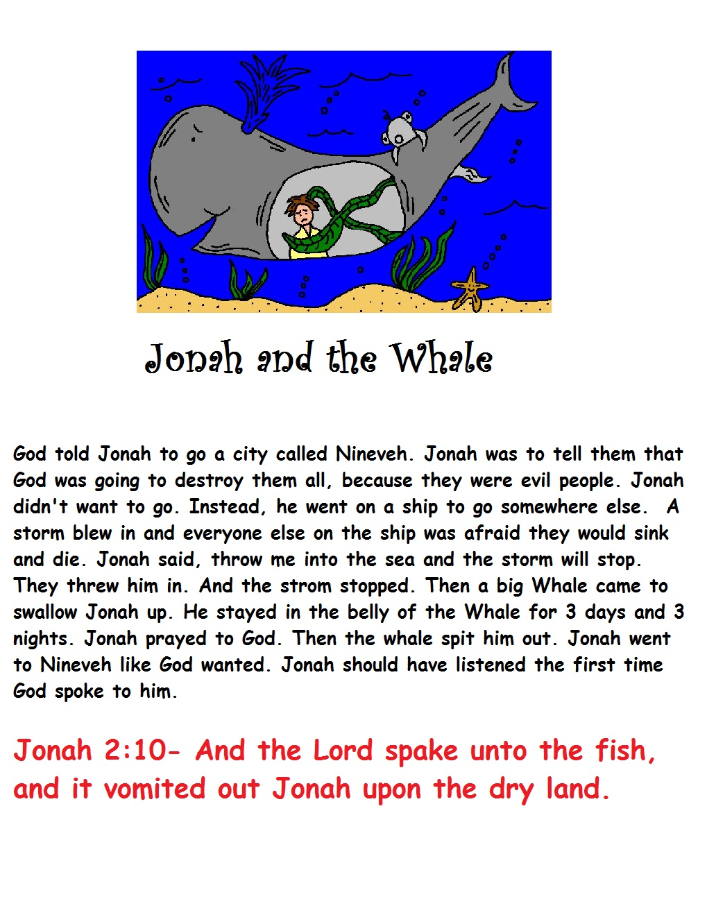 Jonah And The Whale Sunday School